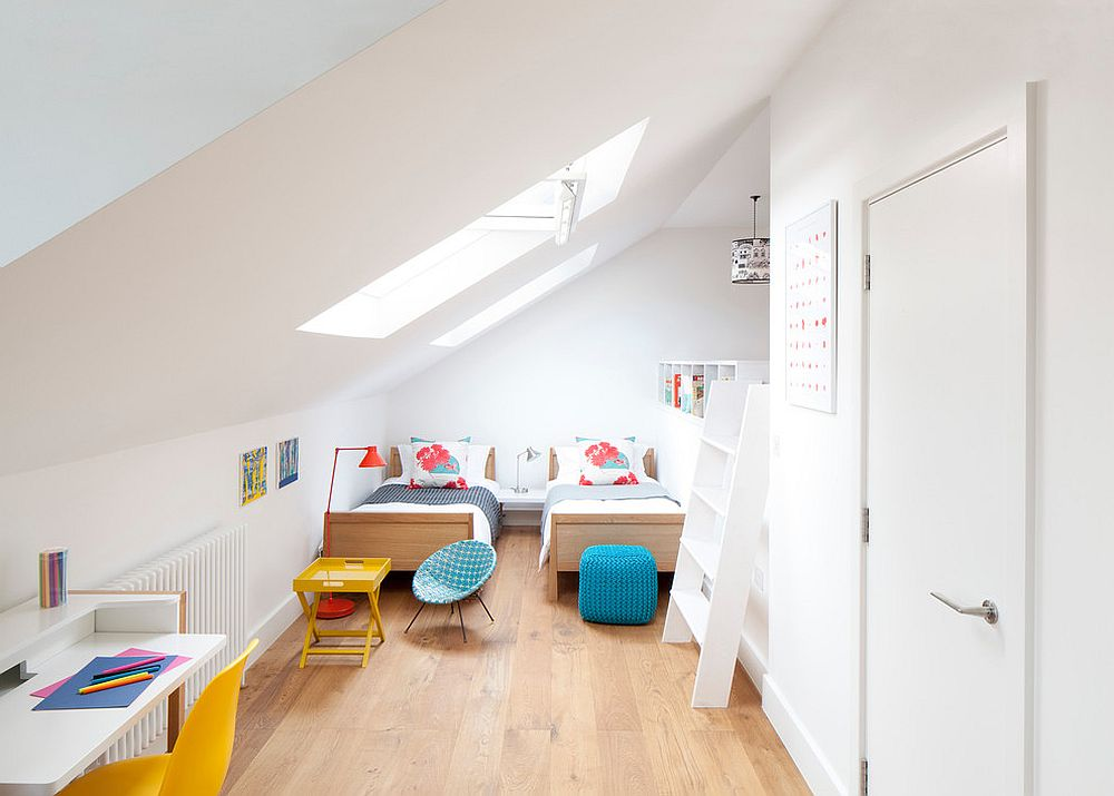 Space-savvy contemporary kids' room in white with skylights [Design: MW Architects]