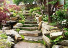 Stacked stone staircase becomes the showstopper of this Oriental garden