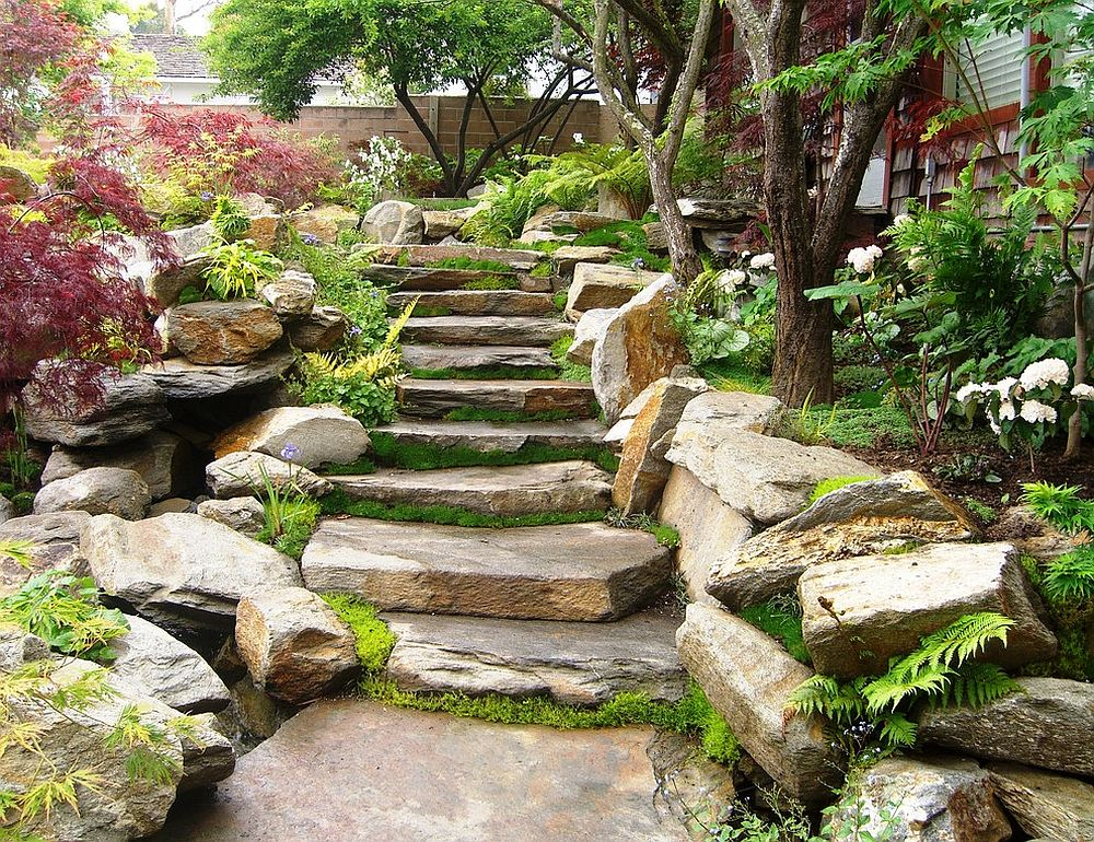 Stacked stone staircase becomes the showstopper of this Oriental garden [Design: Erik Jones Landscaping]