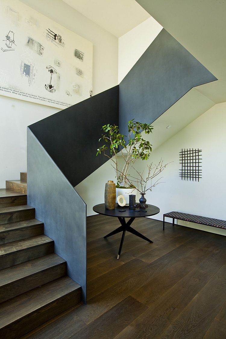 Staircase leading to the top level with minimal design