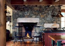 Stone wall and fireplace for the smart, farmhouse kitchen