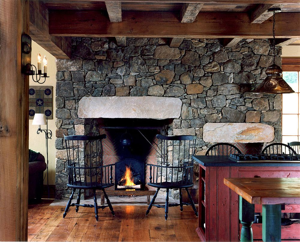View In Gallery Stone Wall And Fireplace For The Smart, Farmhouse Kitchen [ Design: Archer U0026 Buchanan