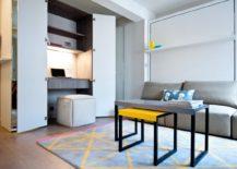 Studio apartment with mirrored wardrobe office (via Houzz)