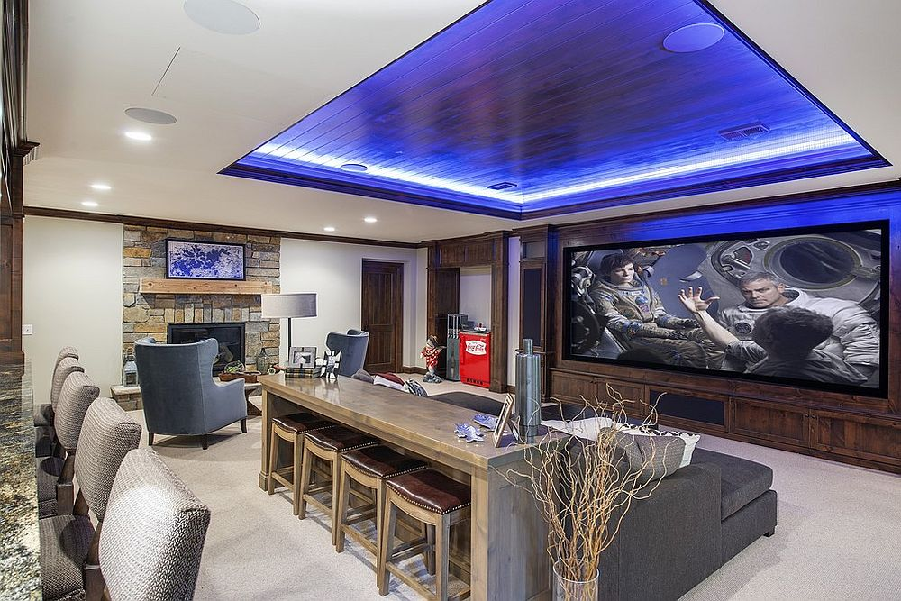 Stunning beach style media room with a home bar [Design: Stonewood]