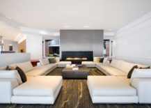 Stunning fireplace becomes the focal point of the new living room