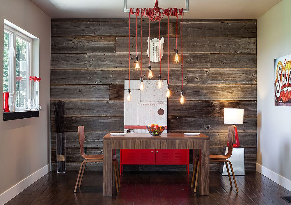 Stunning industrial modern dining room with a hint of red and reclaimed wood feature wall [Design: Jordan Iverson Signature Homes]