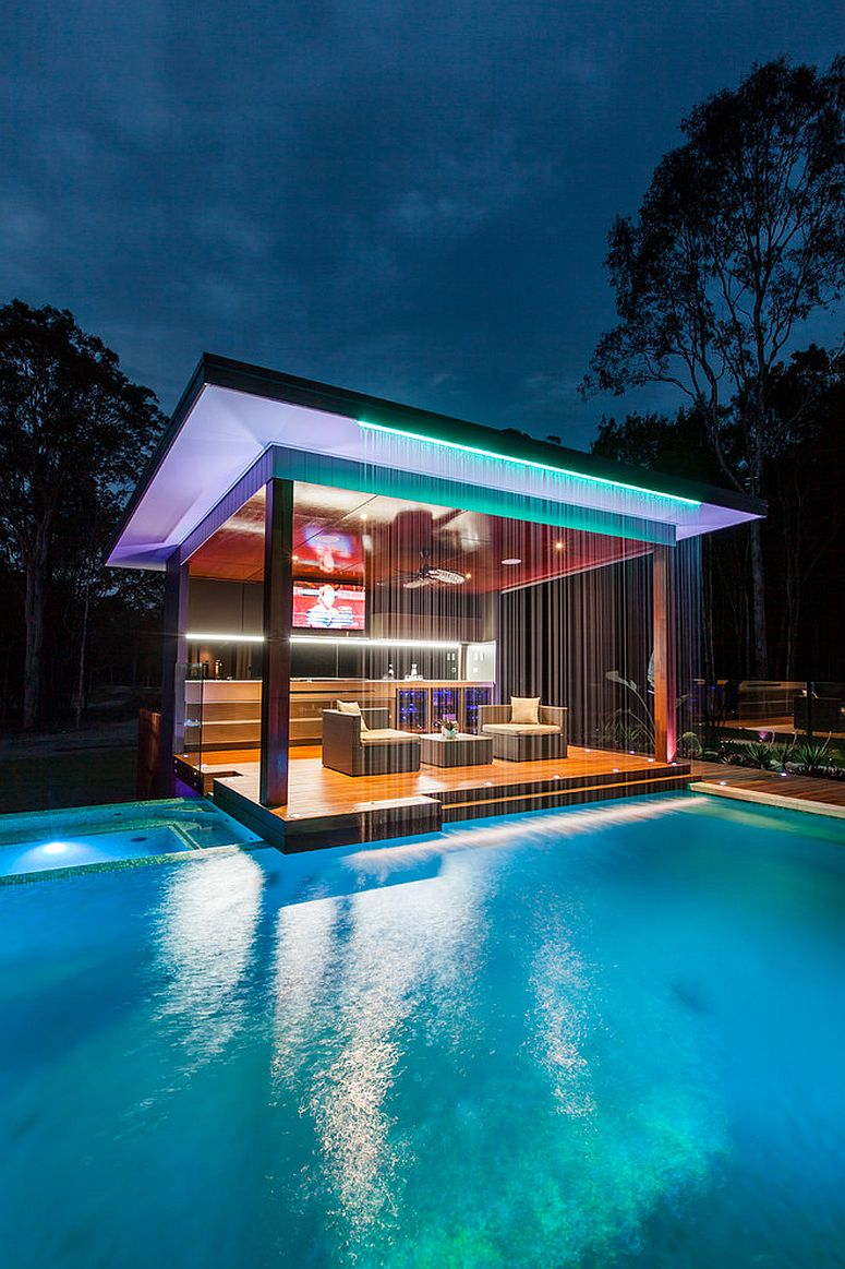 ... Stunning pool house will wow your guests every single time [Design:  Darren James Interiors