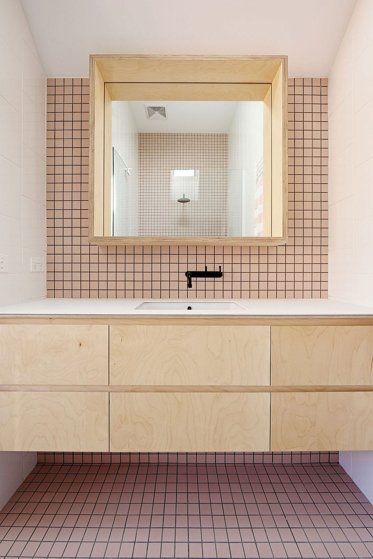 Tiles add smart geometric pattern to the small bathroom