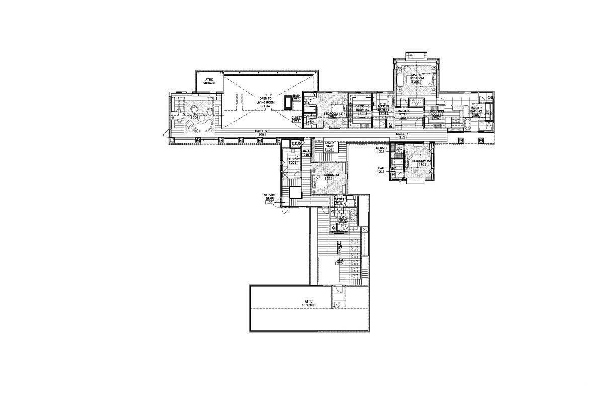 Top level floor plan with multiple master bedrooms and additional spaces
