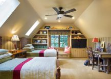 Traditional kids' bedroom with twin beds and skylights