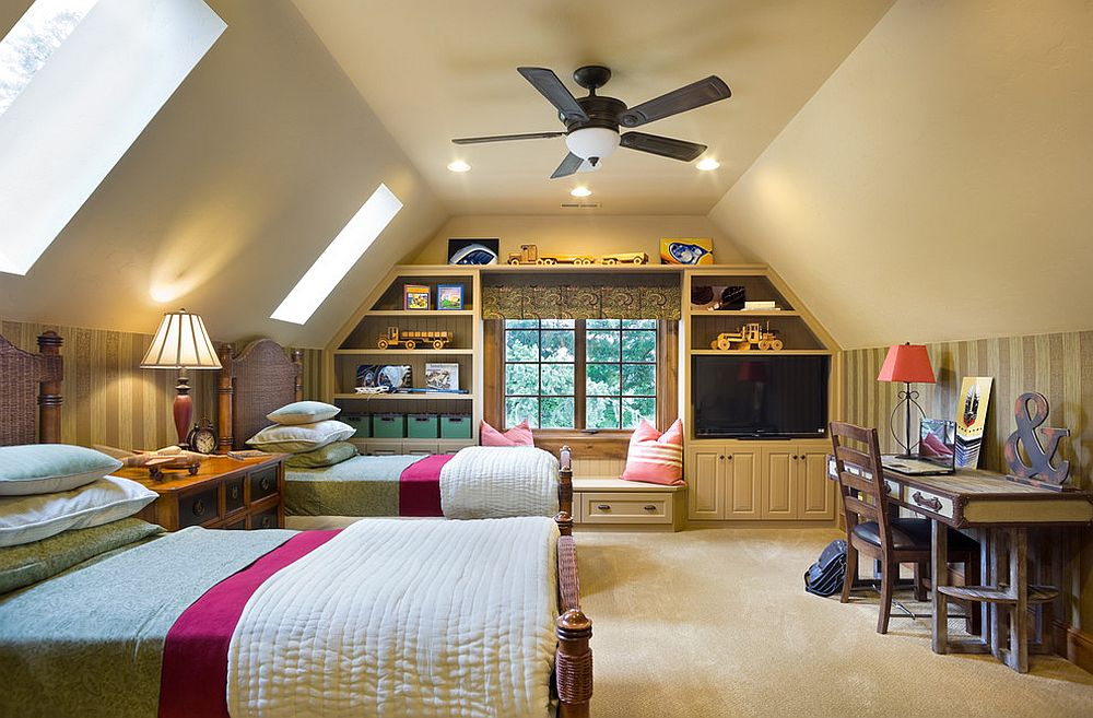 Traditional kids' bedroom with twin beds and skylights [Design: BC Custom Construction]