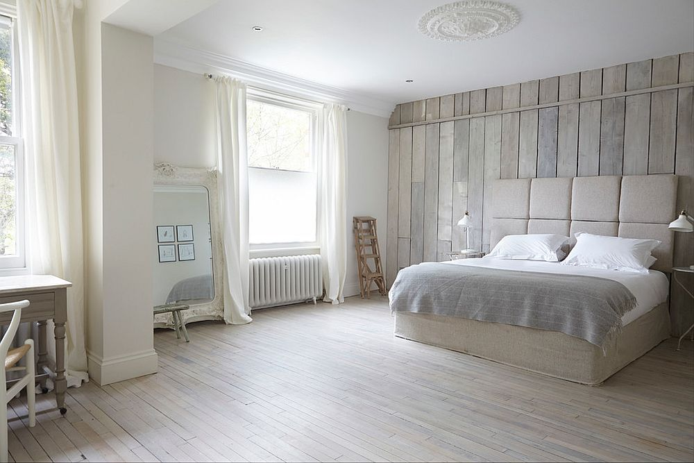 Tranquil bedroom in white uses reclaimed wood all around!