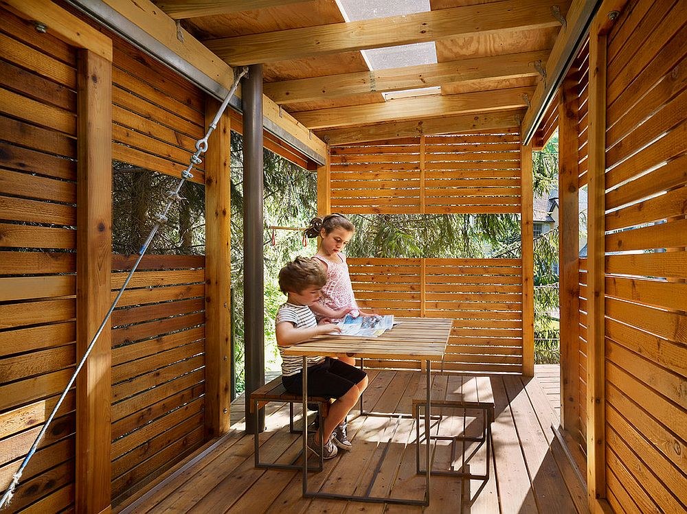 Treehouse and play area with skylight creates a wonderful private retreat for the kids