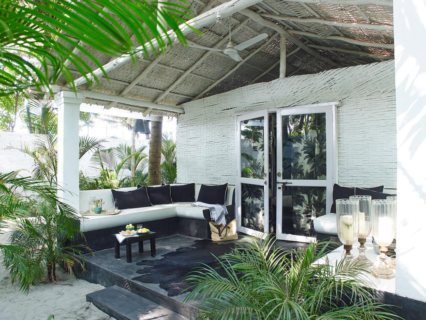 Tropical beach house front porch