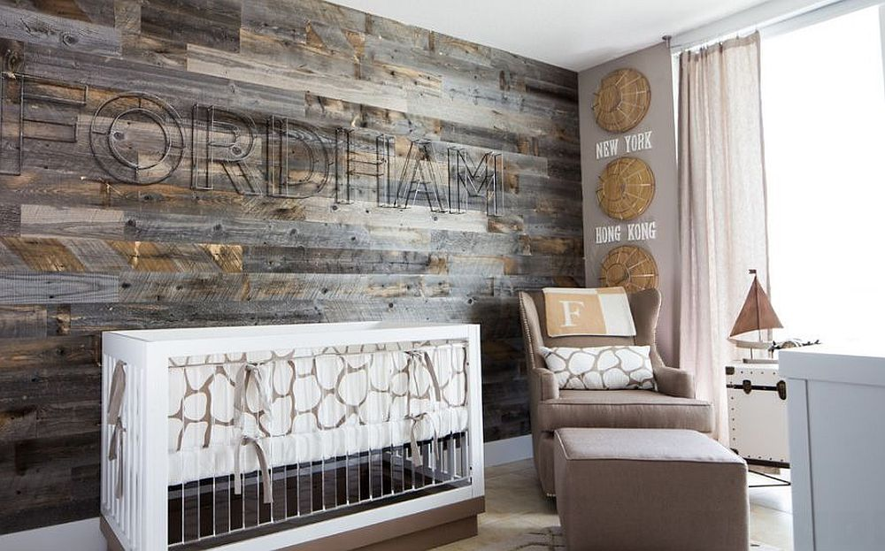 Turn to reclaimed wood to give the nursery a stunning accent wall