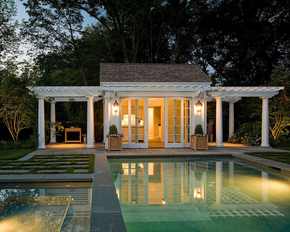 twin pergolas add elegance to the classic pool house design merrimack design architects - Pool House Designs Ideas