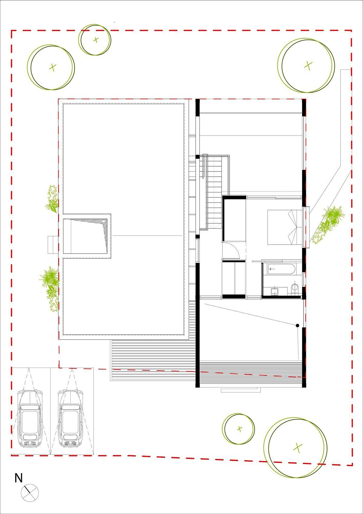 Upper level floor plan with master suit and a spacious deck