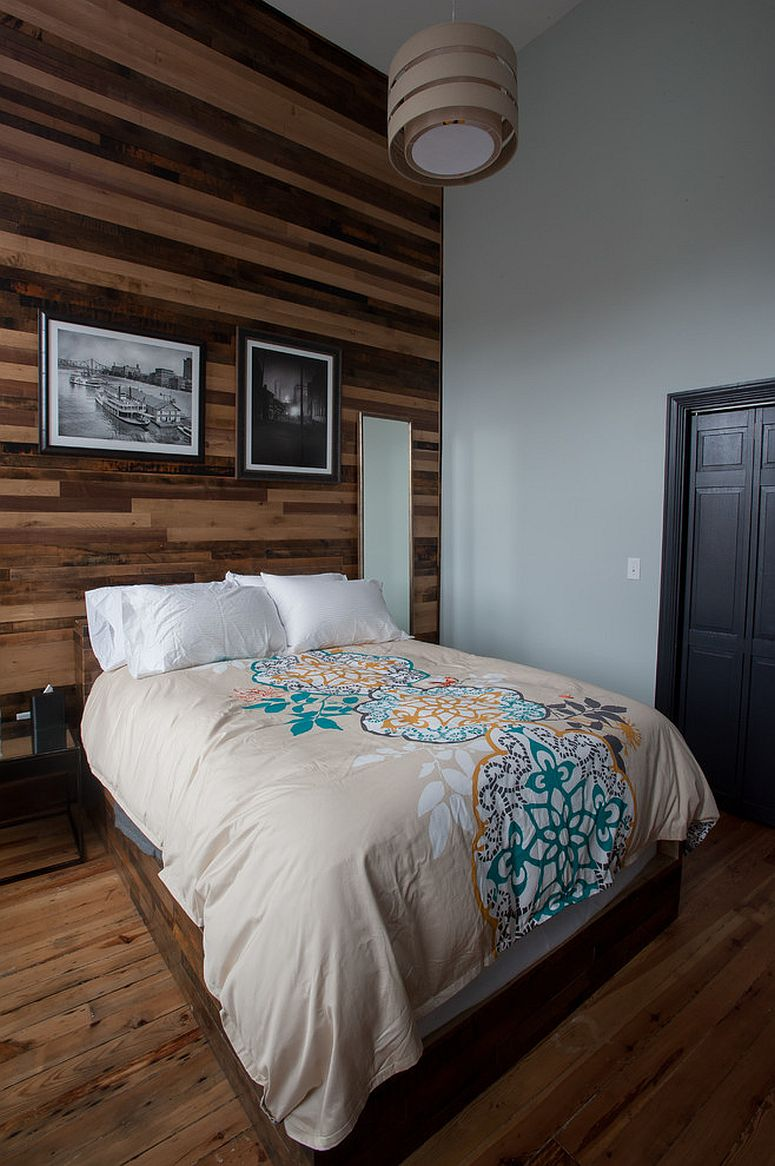 Wall draped in reclaimed wood is an instant showstopper in the contemporary bedroom [From: Jason Snyder]