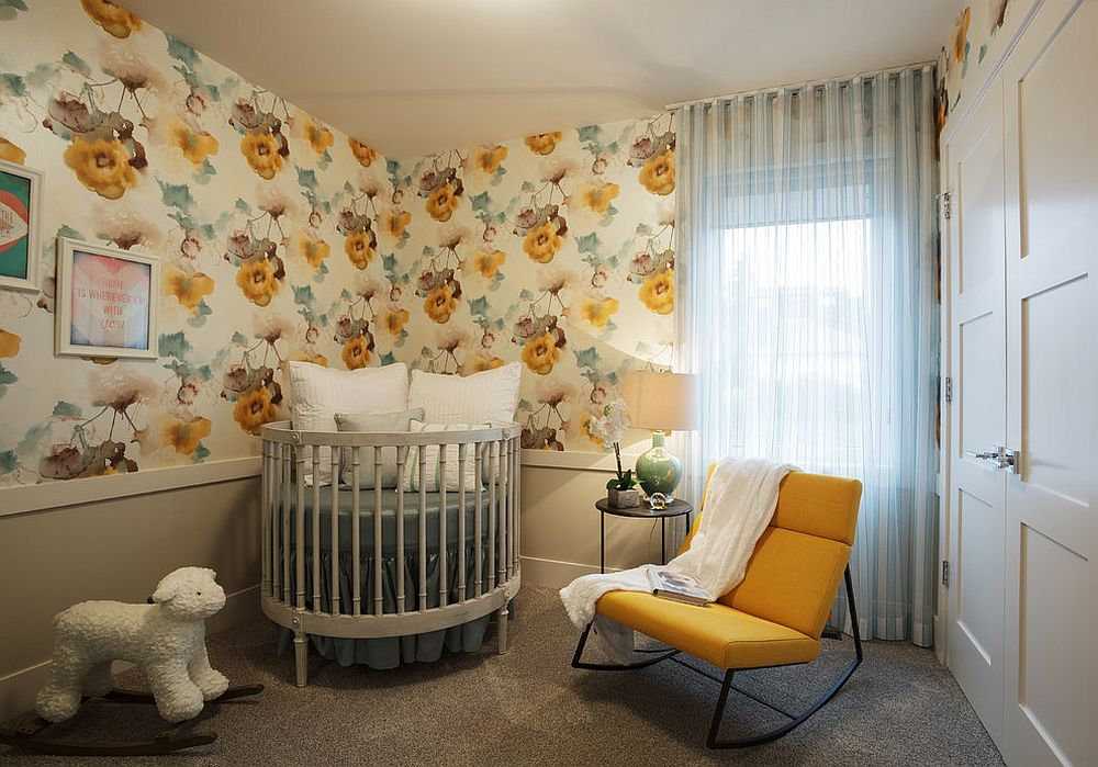Wallpaper adds pattern and color to the nursery [Design: Phase One Design]
