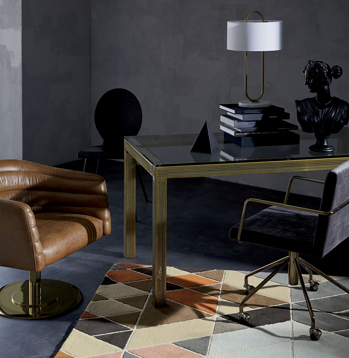 Warm tones in a grey room by CB2