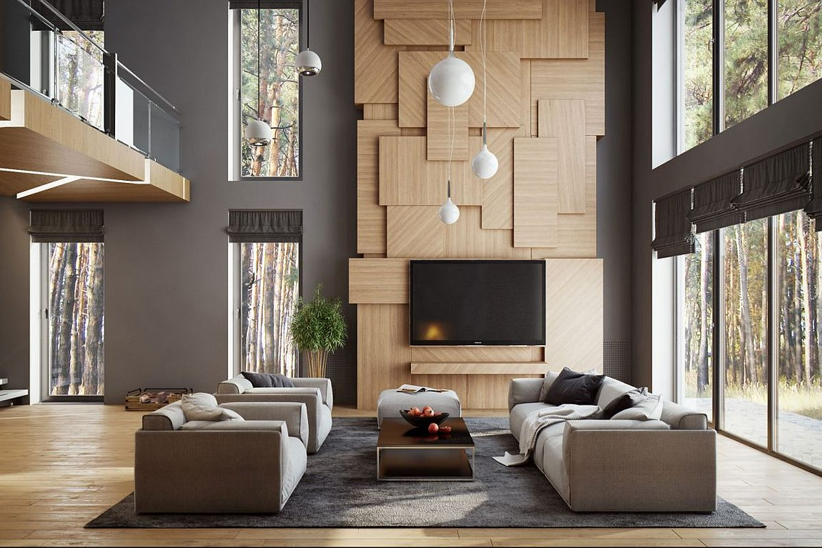 Wooden accent feature becomes a sculptural addition to the living room