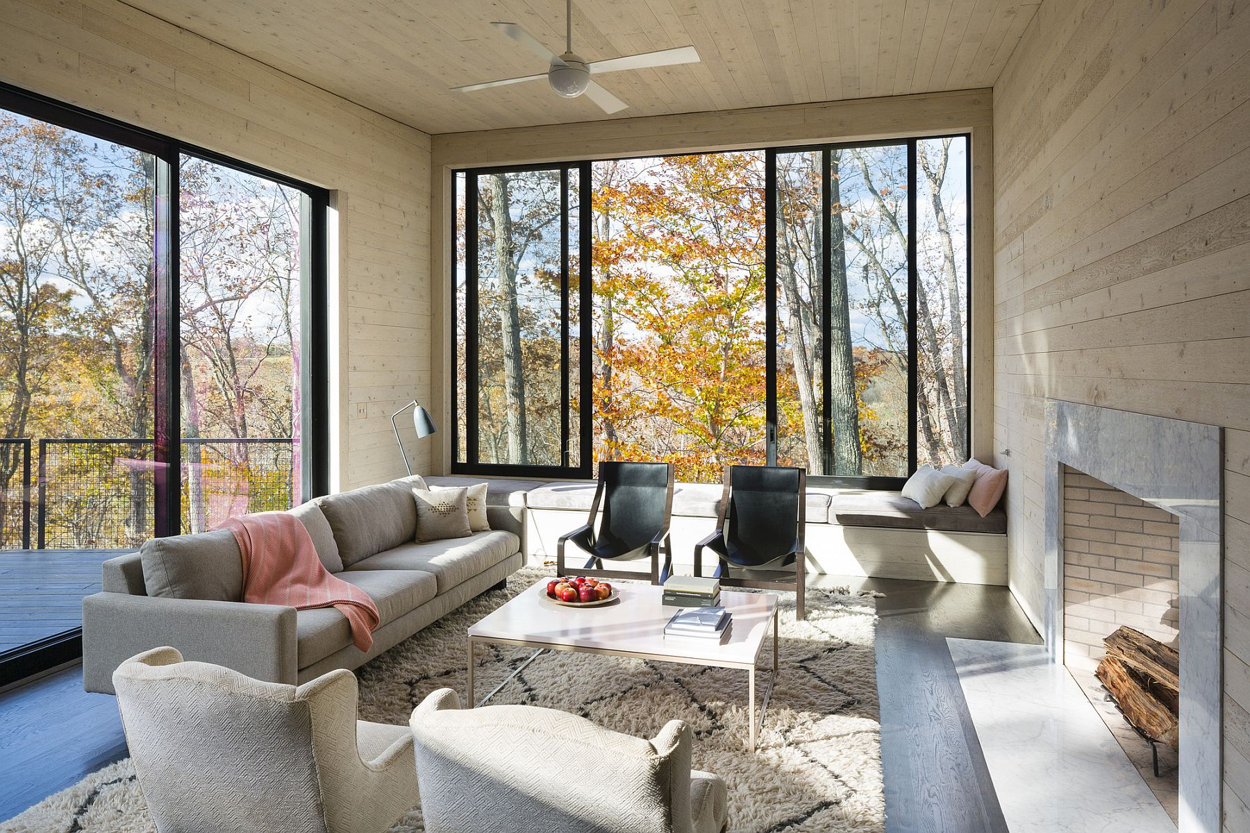 Woods outside become a part of the living room visual