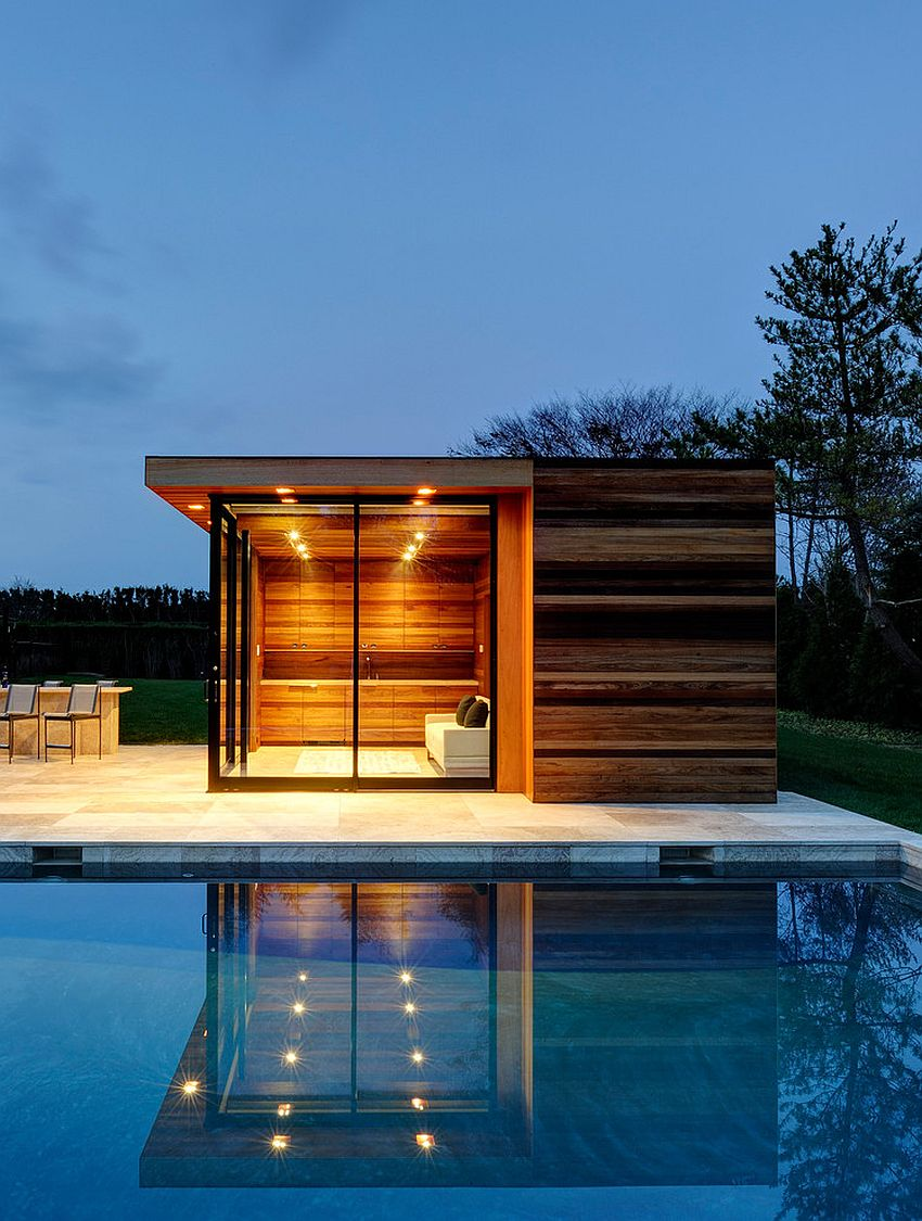 Small pool house showcases clean design lines and exquisite style design bates