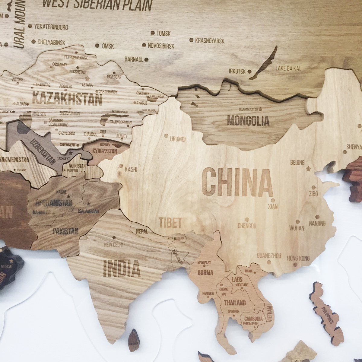 The Wooden Map by Aziz Abdulmazhitov is a handsome design, perfect for the home and office environments. Measuring 2500х1300 mm, it is made using a combination of ash, birch, beech, walnut and oak woods.