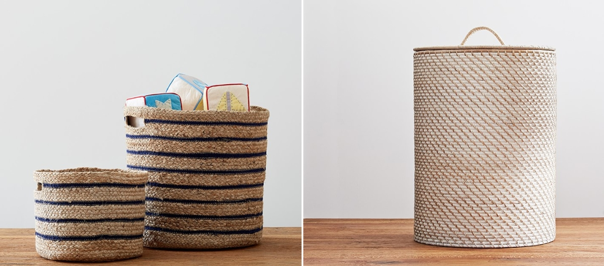 Woven baskets from Pottery Barn Kids