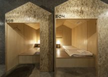 A look inisde the nifty sleeping huts at the Tokyo hostel