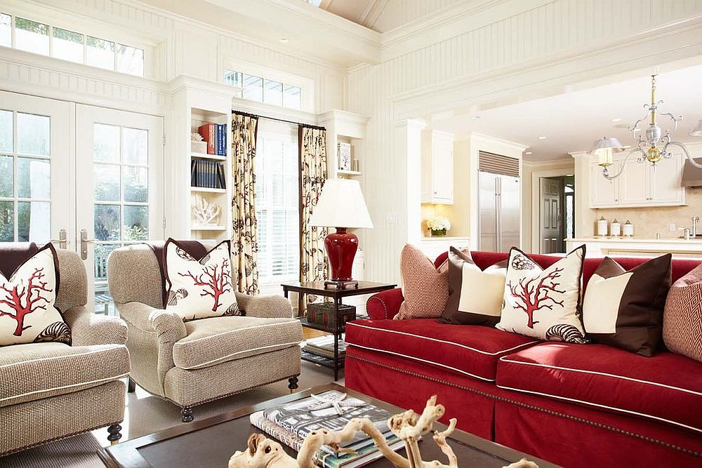 a touch of beach style elegance rejuvenates the gorgeous family room in white and red