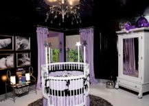 Awesome Hollywood Regency style nursery in black and violet