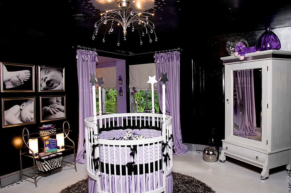 Awesome Hollywood Regency style nursery in black and violet [Design: Simply Put Interiors]