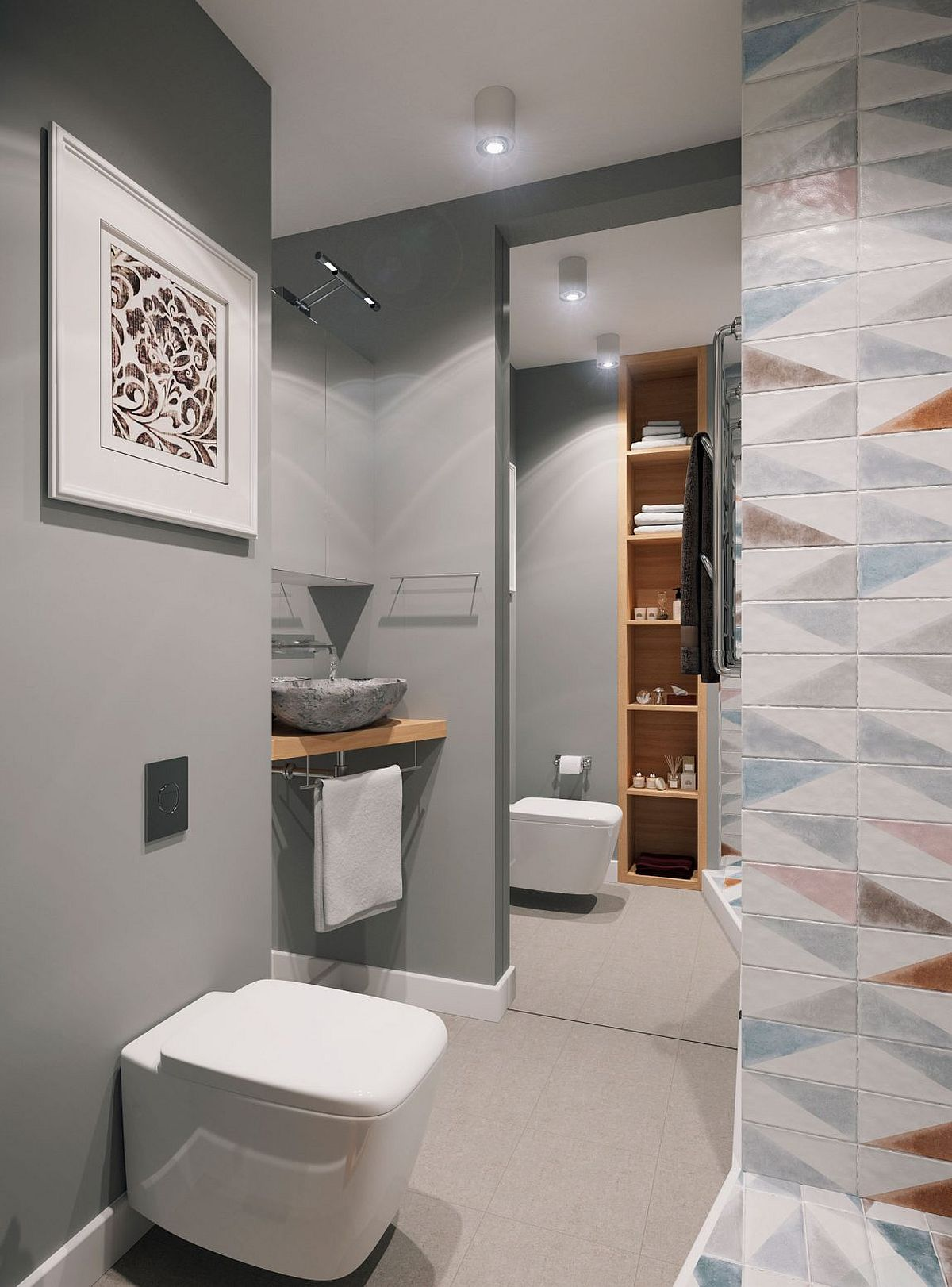 Bathroom in gray with shower area and tiny vanity