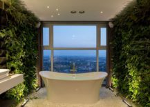 Bathroom living walls add both color and serenity to the contemporary setting