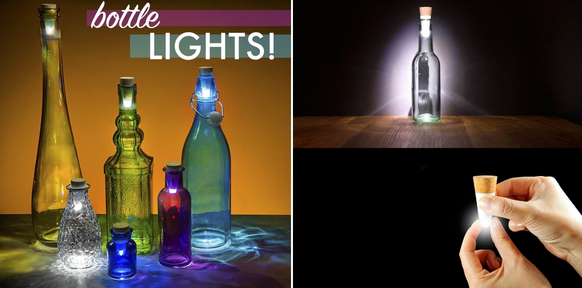 Battery-powered bottle lights