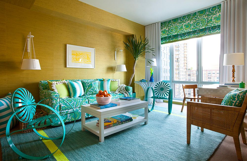 Beach style living room in yellow and turquoise with a couch that also adds pattern [Design: Scott Sanders / Photography by Nick Johnson]