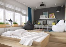 Bed that slides out and an additional daybed along with bean bags provide ample relaxation space