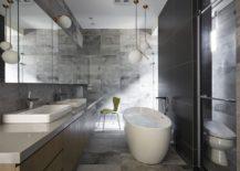 Black and gray bathroom with standalone bathub
