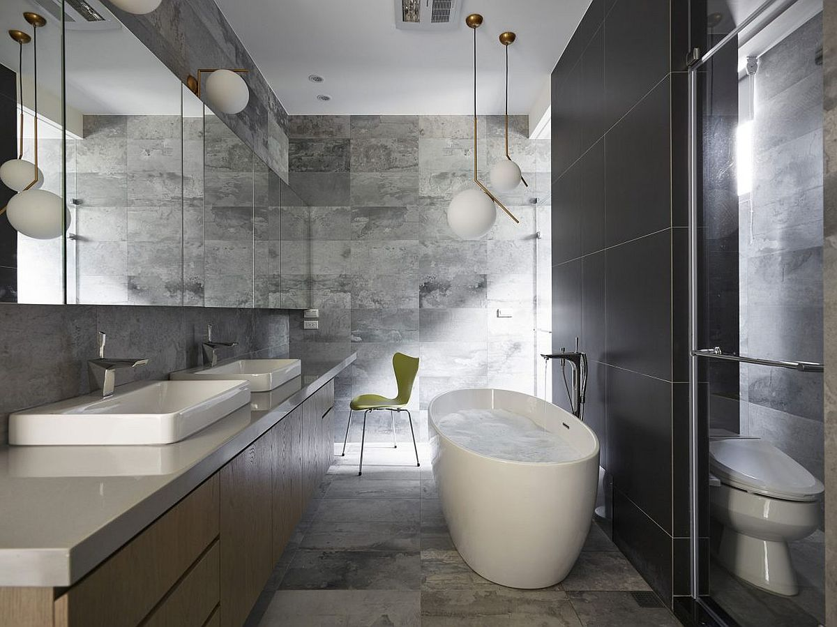 Black and gray bathroom with standalone bathub