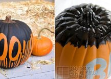 Black and orange painted pumpkin for Halloween