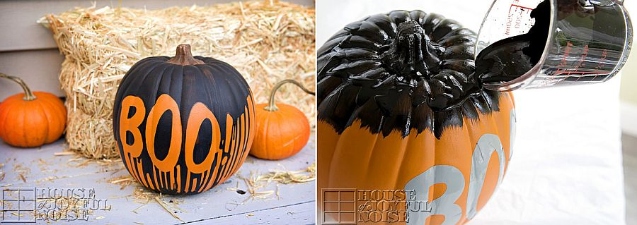 Black and orange painted pumpkin for Halloween [From: House of Joyful Noise]