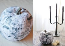 Black and white decoupage photo pumpkin showcases your best holiday memories [From: Sugar and Charm]
