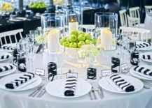 Black and white table settings (photo from Architectural Digest)