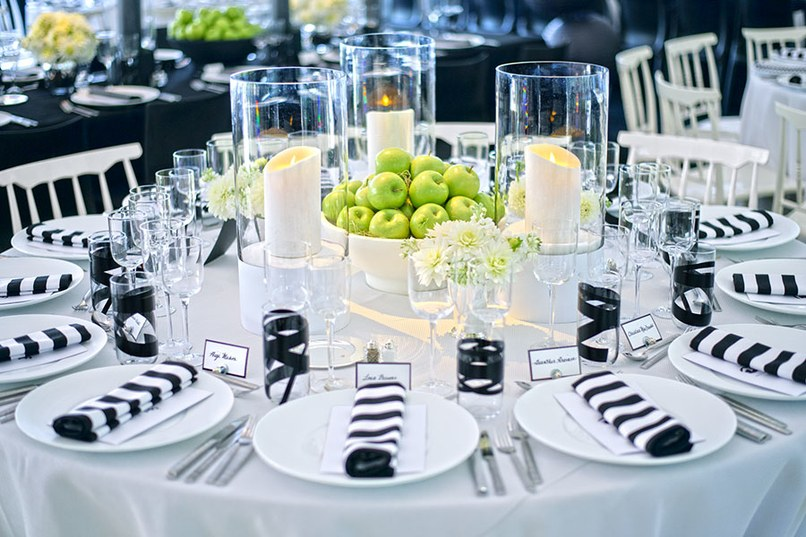 View in gallery Black and white table settings (photo from Architectural Digest) & Event Decorating on a Budget