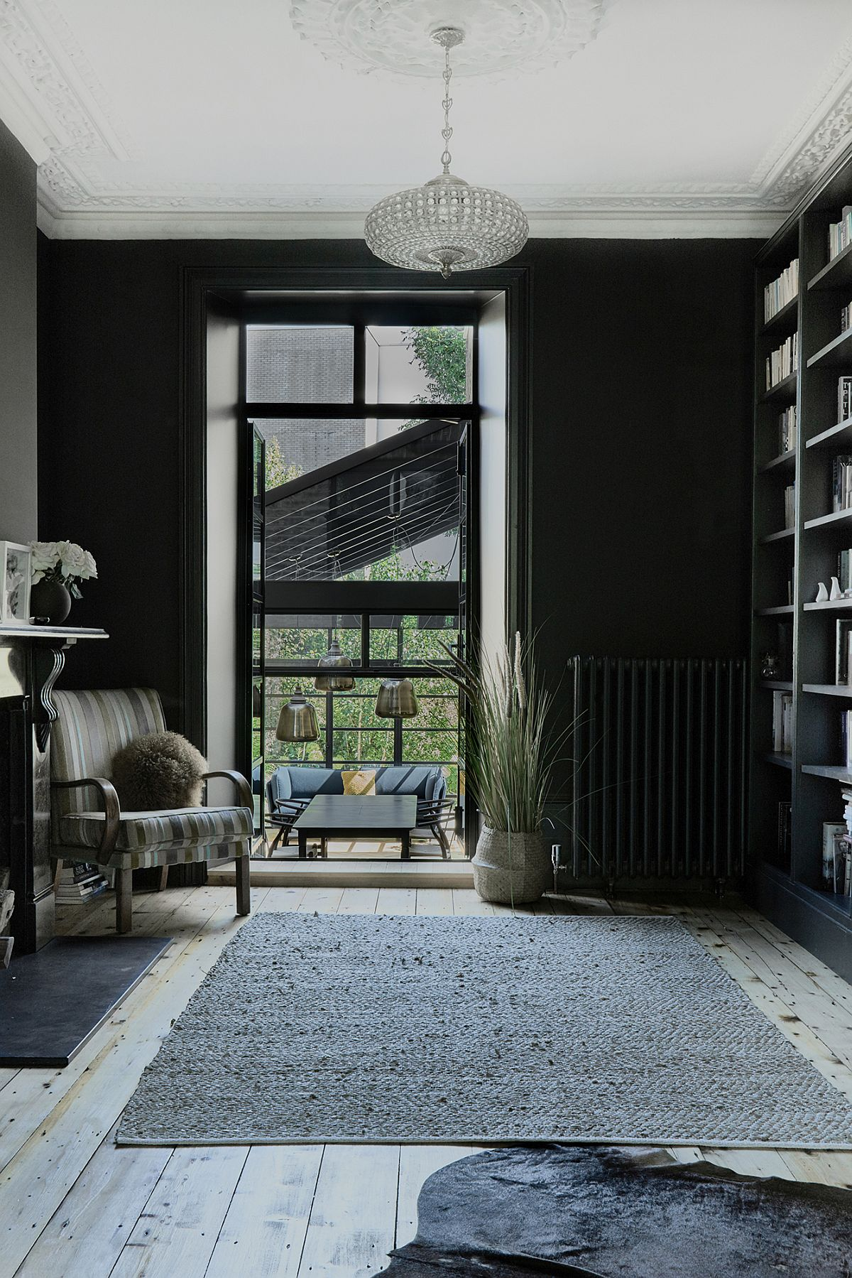 Black is the color of choice inside the modern London home extension
