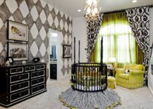 Black is used to anchor this nursery and define its many features