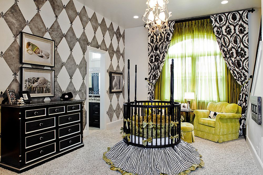 Black is used to anchor this nursery and define its many features [Design: Bravo Interior Design / Photography by Tre Dunham]