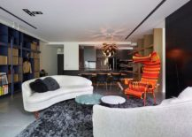 Bright chairs add color to the living area