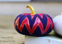 Bright chevron painted pumpkin from The Style Tab